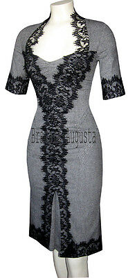 KAREN MILLEN BLACK WHITE GREY WOOL GALAXY TWEED & LACE CORSET RARE DRESS 14 BNWT
