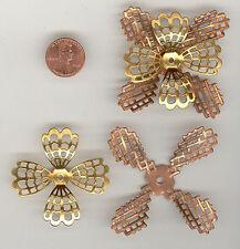 Vintage Brass & Copper Filigree Flowers - 2 Part 65mm #126B