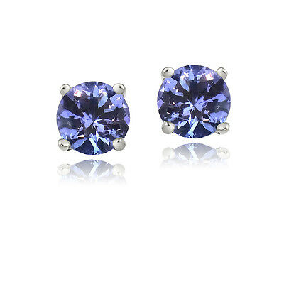 925 Silver 1/2ct Tanzanite Round 4mm Stud Earrings
