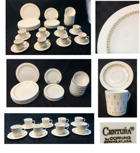 VINTAGE Corning Centura Dinnerware APRIL TULIP Multicolor Embossed 44-PC 1972-78
