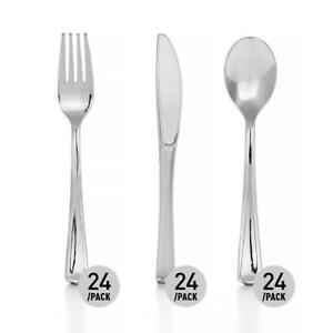 LIVINGbasics® Premium Silver Plastic Knife 24Pcs + Fork  24Pcs + Spoon 24Pcs