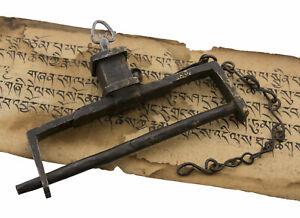 Lucchetto Antico IN Metallo Tibetano Nepal Da Tempio Buddista Autentico 542 E1