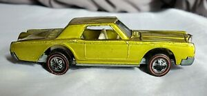 SHINY-VINTAGE-HOT-WHEELS-REDLINE-CUSTOM-CONTINENTAL-MARK-III-YELLOW