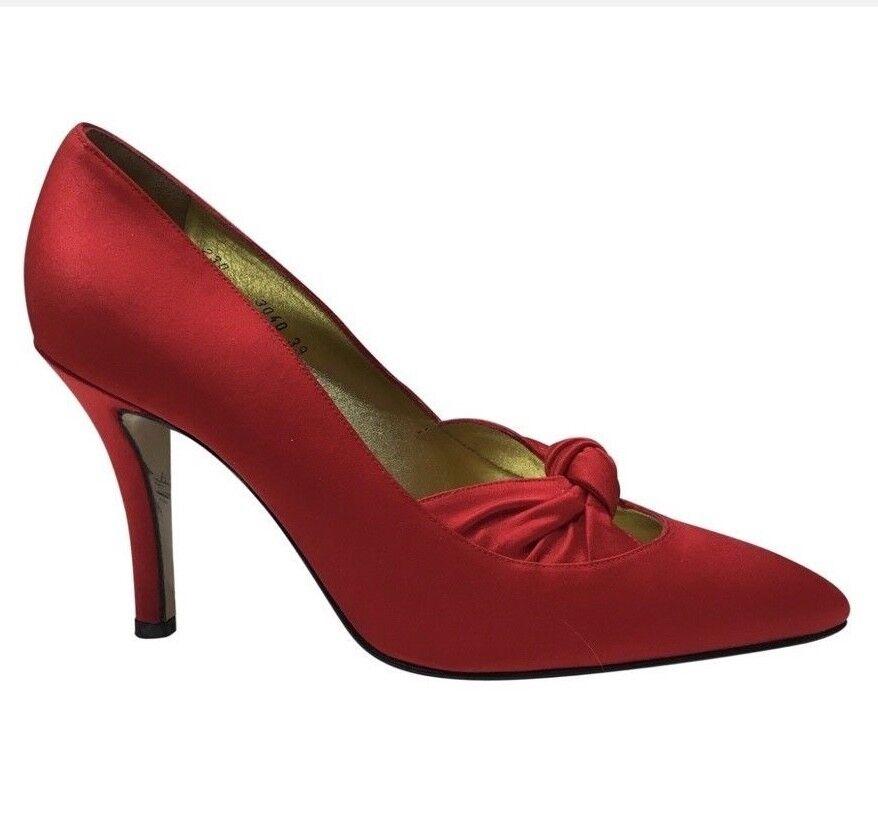 Walter Steiger scarpe da sera in raso rosso POMPE talloni Taglia 39EU con scatola