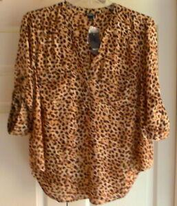 Torrid-Harper-Blouse-Pullover-Roll-Tab-Sleeve-0-L-12-Leopard-Print