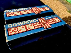 2-Vintage-Chad-Valley-Double-Sixes-Boxed-Sets-of-DOMINOES-Harborne-England