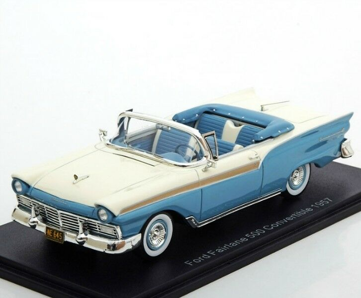 Ford fairlane 500 cabrio 1957 blau   weiß neo46045 1 43