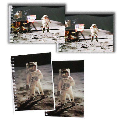 SPACEWALK /& MOONWALK 4 total 2 each 3D Cover Lenticular 4x6 NoteBooks