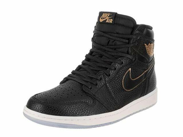 2bc29268b9f NIKE Air Jordan 1 Retro High OG Mens Basketball Shoes Black/Metallic Gold  US 10
