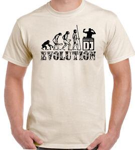 DJ-EVOLUTION-Hombre-Divertido-DJing-CAMISETA-CONSOLAS-TOCADISCOS-VINILO-Records