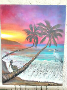 Original-Acrylic-Painting11-034-x14-034-Canvas-Panel-Beach-Sunset-Home-Decor-Art