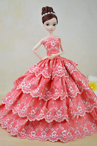 Lovely Barbie Sun Flower Embroidery Button Hole Pink Stripe Dress Cloth Gown