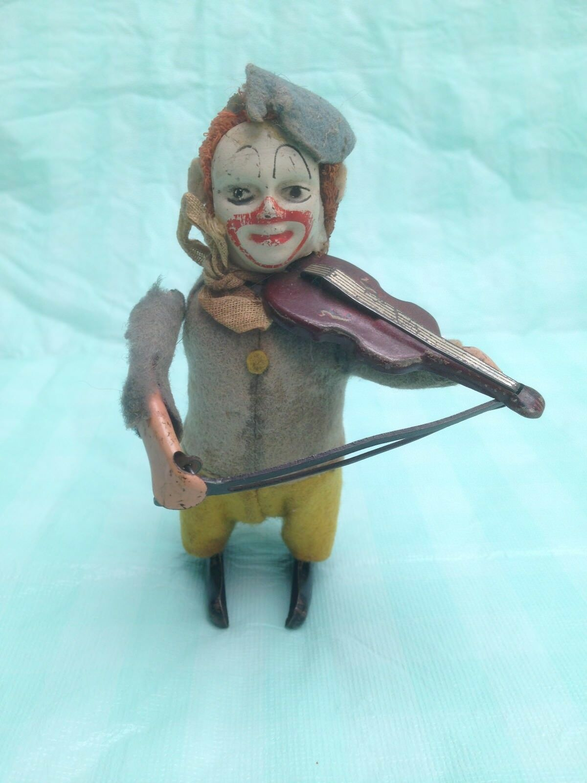 Vintage Schuco  Wind Up Clown Playing Violin