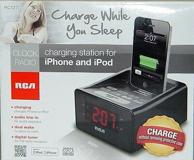 OPEN BOX RCA Dual Alarm Clock iPod Charging Station w/ Digital FM Radio