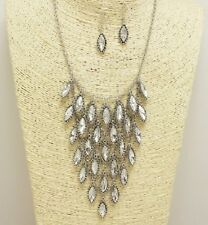 Silver and Clear Crystal Dangling Charms Necklace Set
