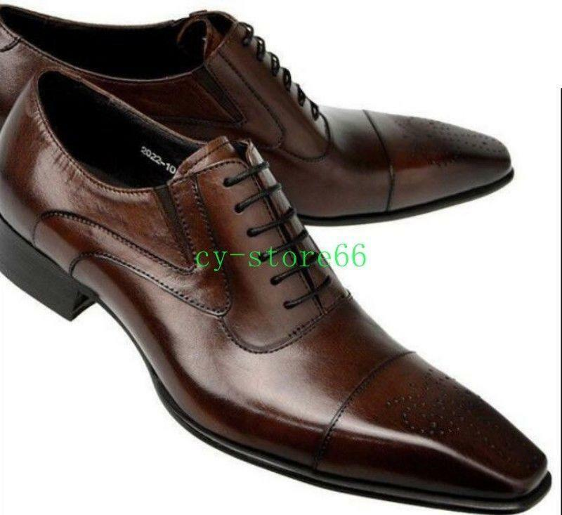 Uomo Real Leather Pointed Toe Dress Fashion Formal Lace Up Wing Tip Brogue Shoes