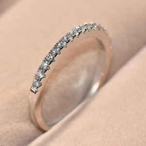White Yellow Rose Gold Stackable Eternity White Sapphire Cz Wedding