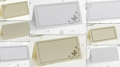 PLACE CARDS wedding party table place name cards white silver ivory gold
