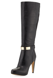 5205c8264cde9 Sam Edelman Klara Women s Black Golden Plate Detailed Dress Boot Sz ...