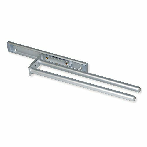 Emuca 7086862 Pull-Out Towel Rail with Two arms 310mm Long Made of matt anodised