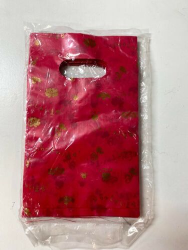 100 pcs Shopping plastic retail bag with handle for gift party wedding