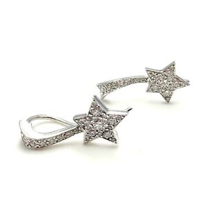 Details About Authentic Chanel Comete 18k White Gold Diamond Star Earrings