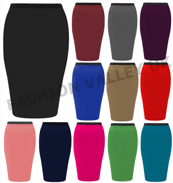 NEW WOMENS PLAIN MIDI PENCIL SKIRT BODYCON STRETCH LADIES OFFICE SKIRT SIZE 8-14