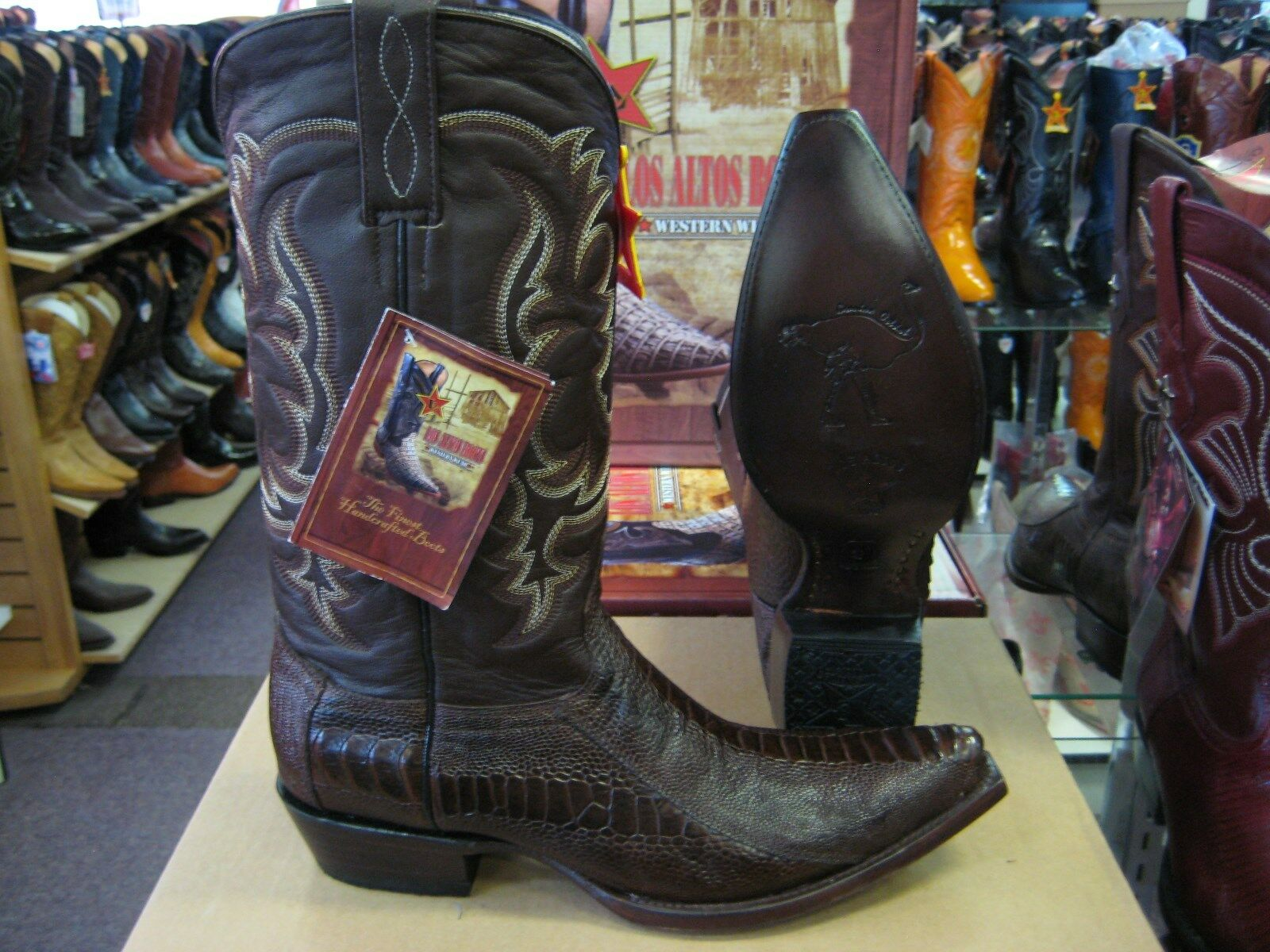 Los altos Marrón Mujeres Pierna Vaquero Occidental SNIP Toe Avestruz bota (M) L940507