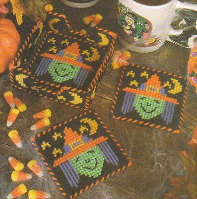 SILLY WITCH COASTER SET HALLOWEEN PLASTIC CANVAS PATTERN INSTRUCTIONS