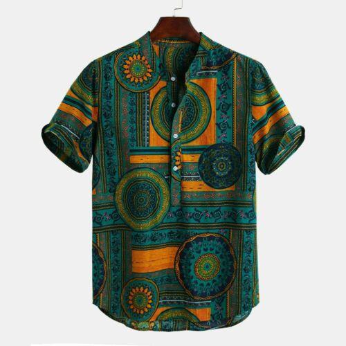 Fashion Men/'s Cotton Printed Hawaiian Stand Collar Short Sleeve Loose Shirts UK