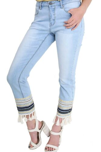 Umgee Women/'s Embellished and Tassel Hem Cropped Stretch Straight Leg Jeans