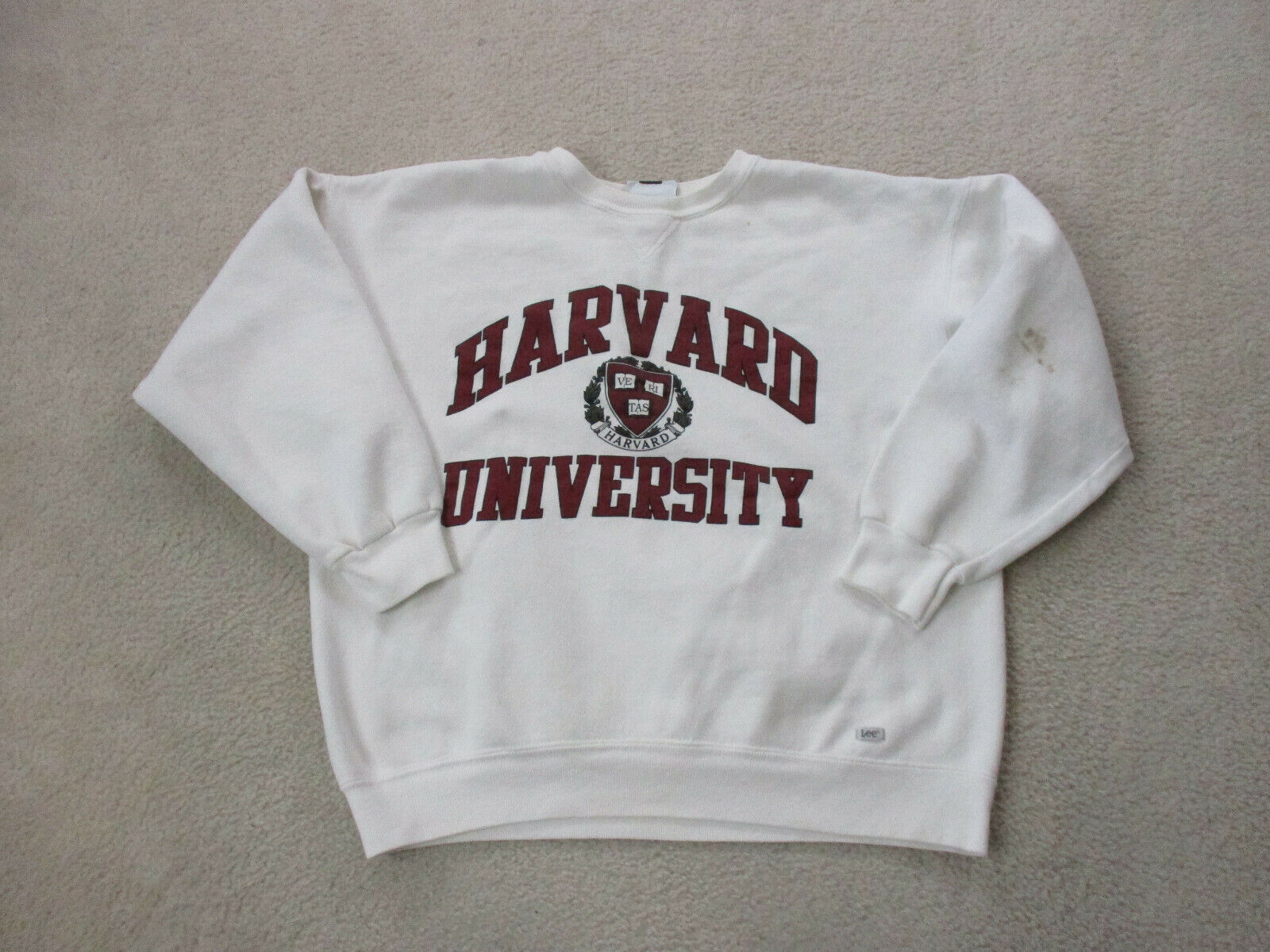 VINTAGE Harvard Crimson Sweater Adult Extra Large White Red Ivy League Mens 90s* 2