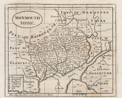 Francis Grose C1780 Knowledgeable Antique County Map Of Monmouthshire By John Seller Maps, Atlases & Globes