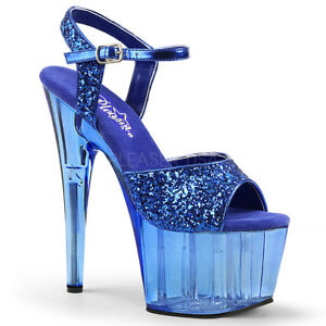 b89d4e733369 Image is loading 7-034-Something-Blue-Glitter-Platform-Wedding-Heels-