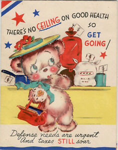 Cute-Anthropomorphic-Bear-Get-Well-Vintage-Greeting-Card-Rust-Craft-April-1944