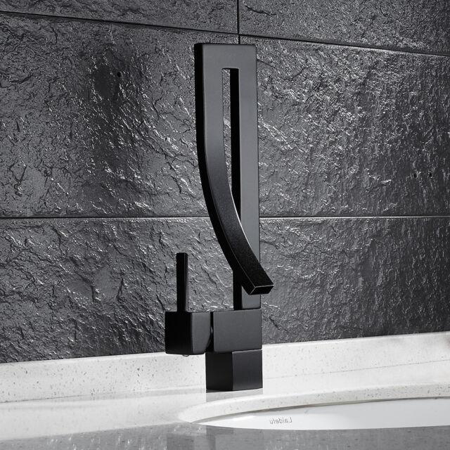 Modern Black Bathroom Sink Taps Bath Basin Mixer Tap Solid Br Moloc Faucet