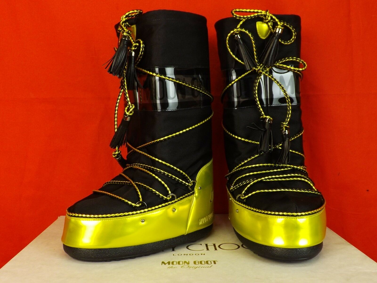JIMMY CHOO YELLOW BLACK FABRIC LEATHER TALL MOON BOOTS ITALY 39 40 41