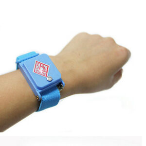 Anti Static Cordless Bracelet ESD Discharge Cable Wrist Strap Cool Blue Nice new