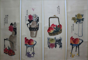Chinese-100-Hand-Painting-4-Scrolls-Plants-amp-Animals-034-By-Qi-baishi-309A