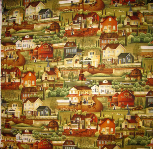 Barn House Store Wagon Scenic Cotton Fabric Windham 41273 Country Store Yard