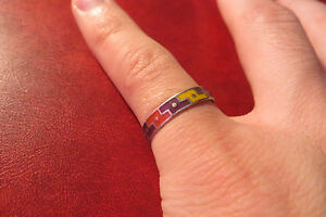 Schoener-925-Silber-Ring-unisex-Modern-Design-bunt-Vintage-Tetris-optik