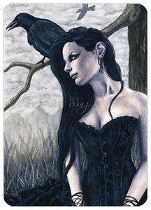 Gothic-Fantasy-Art-ACEO-PRINT-Raven-crow-tree-woman-corset-portrait-black-dress