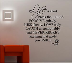 Life Is Short Love Quote Wall Art Sticker Vinyl Lounge Bedroom