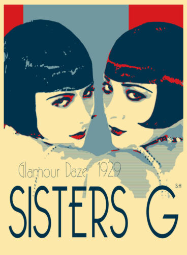 GLAMOUR GATSBY SISTERS G ART NOUVEAU VINTAGE PRINT  POSTER 1920s painting