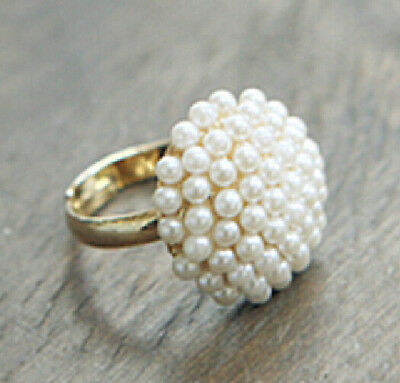 FD1506 Elegant Golden Plated Pearl Ring Sweet Korea Princess Ring Cute Jewelry