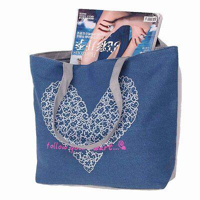 Fashion Women Love Printing Canvas Bags Handbag Shoulder Shopping Travel Tote