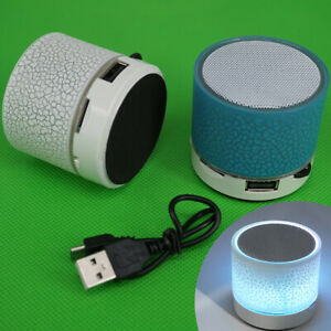 LED Light Mini Bluetooth Bass Speakers Wireless Stereo TF FM Radio Function rt