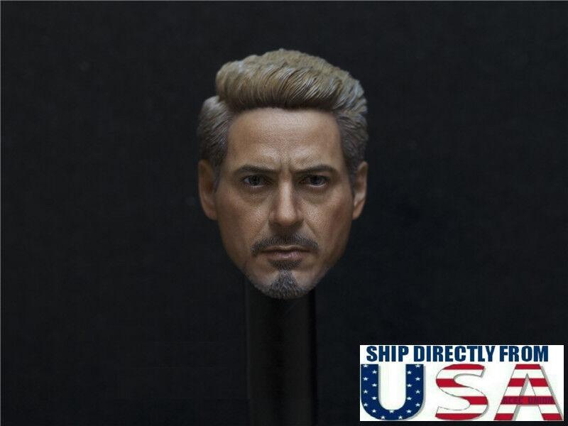 1 6 Iron Man Tony Stark Robert Downey Head Sculpt 6.0 For Hot Toys PHICEN Figure