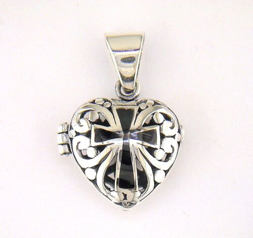 Cross Filigree Heart Locket Pendant Sterling Silver