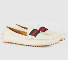 GUCCI LADIES DRIVER SHOES OFF WHITE LEATHER WEB DETAIL PEBBLED SOLE 42G 12